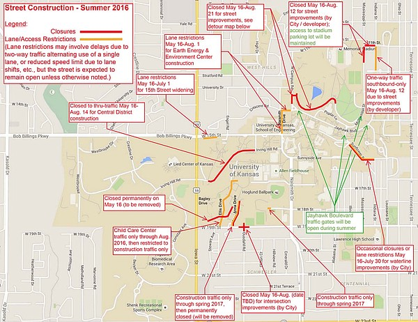 Map of summer 2016 street construction on and around campus, via KU Design and Construction Management.