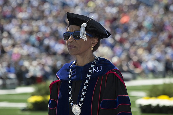 Kansas University Chancellor Bernadette Gray-Little leads part of the procession during KU's 144th commencement ceremony Sunday, May 15, 2016, in Memorial Stadium.