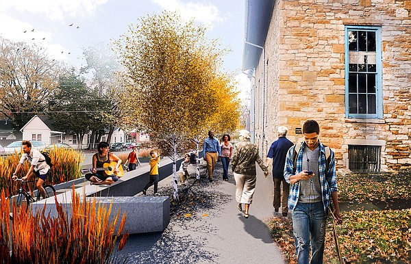 A resting area has been proposed near the Turnhalle Building, at Ninth and Rhode Island streets, as part of the East Ninth project. This rendering, which looks east from the intersection, shows simple seating walls and native grasses.