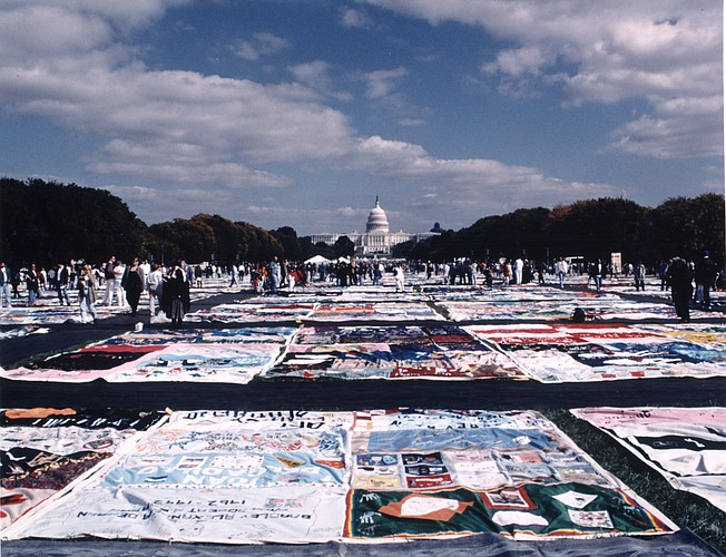 Six sections of The AIDS Memorial Quilt will be displayed in Lawrence in June. Four sections will be at the Lied Center of Kansas and two sections will be at the Lawrence Public Library. Photo Courtesy of The NAMES Project. Uploaded