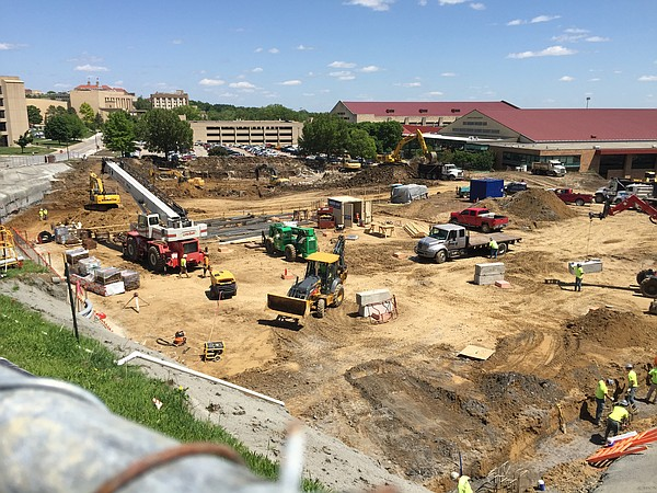 Construction in KU's Central District is pictured May 12, 2016. The Burge Union, which was located in the upper left corner of the construction zone pictured here, is now completely razed.