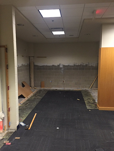 Locker Room renovation photo, courtesy of @TylerOlker