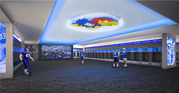 An artist's rendering of the new-look KU football locker room, coming this summer. Illustration courtesy of Kansas Athletics.
