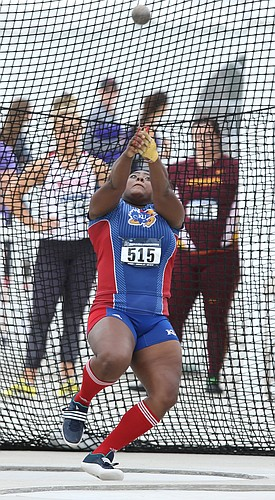 Kansas University's Daina Levy spins through her rotation during an attempt in the Women's Hammer Throw event of the NCAA Track and Field West Regionals at Rock Chalk Park on Friday, May 27, 2016.