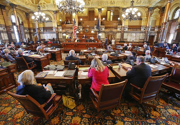 The Kansas Senate prepares for the final day of the 2016 legislative session on Wednesday June 1, 2016 at the Kansas statehouse in Topeka, Kan. (Chris Neal/Topeka Capital-Journal via AP)