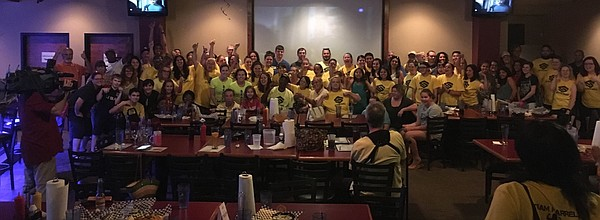"About 90 people gathered at Wayne & Larry's Sports Bar & Grill for a watch party of the finale of the NBC reality TV show ""Strong."""