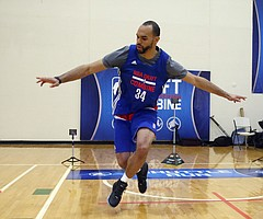 Perry Ellis, from Kansas, participates in the NBA Draft basketball combine Friday, May 13, 2016, in Chicago. (AP Photo/Charles Rex Arbogast)