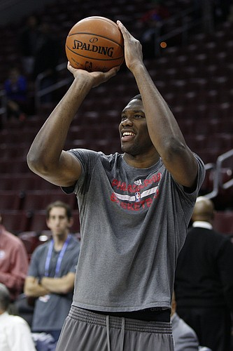 Philadelphia 76ers' Joel Embiid of Cameroon in action prior to the first half of an NBA basketball game against the Chicago Bulls, Thursday, Jan. 14, 2016, in Philadelphia. The Bulls won 115-111 in overtime. (AP Photo/Chris Szagola)