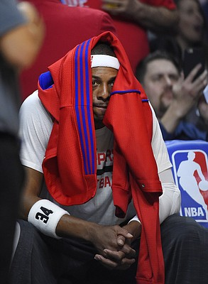 Los Angeles Clippers forward Paul Pierce sits on the bench prior to the team's NBA basketball game against the San Antonio Spurs, Thursday, Feb. 18, 2016, in Los Angeles. (AP Photo/Mark J. Terrill)