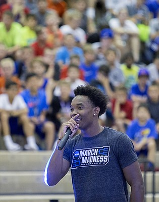 Kansas junior basketball guard Devonté Graham answers questions from campers at the Bill Self Basketball Camp Monday, June 13, 2016.