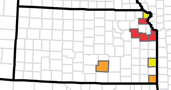 This map shows the presence of Aedes aegypti mosquitoes by Kansas county based on collection records from Jan. 1, 1995, to March 2016. Areas highlighted in red indicate the mosquitoes were present for three or more years during that period. Areas in orange and yellow indicate two years and one year of reports, respectively. Counties in white did not report the presence of Aedes aegypti mosquitoes during that period.