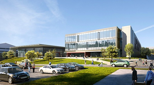This rendering shows what Kansas University's new Central District student union (at left) and integrated science building are planned to look like. Both buildings, located on Irving Hill Road just west of where the recently razed Burge Union stood, are expected to open in time for fall 2018 classes.