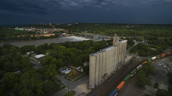 Dark skies roll over a North Lawrence grain elevator on Thursday, June 16, 2016.
