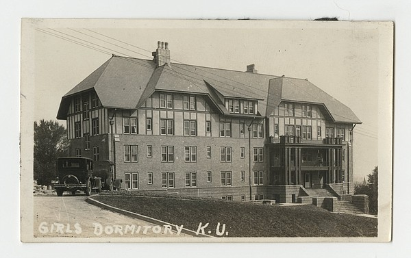 PHOTO: The original Corbin Hall, built in 1923, is pictured in this 1925 photo from the University Archives collection at Kansas University's Kenneth Spencer Research Library.