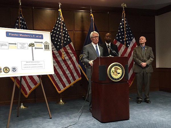 Former U.S. Attorney Barry Grissom announces charges in a money laundering case involving a Lawrence business owner in this file photo from March 19, 2015. Grissom announced April 11, 2016 that he planned to step down as U.S. attorney for Kansas.