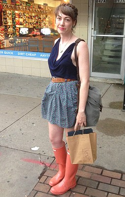 Clothing details: Hunter boots, online, $100; skirt and shirt, clothing swap, free; belt, from mom; bag, sfgirl, gift.