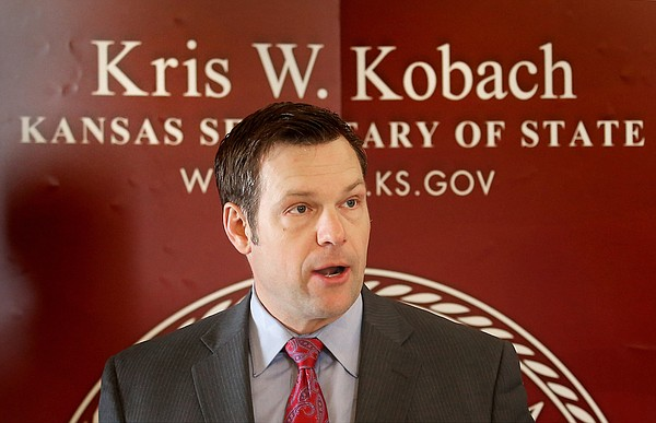 Kansas Secretary of State Kris Kobach speaks during a news conference Tuesday, Feb. 17, 2015, in Topeka.