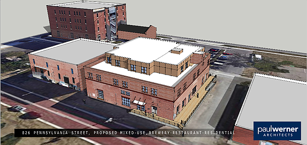 A rendering of the proposed redevelopment of a vacant warehouse at 826 Pennsylvania Street.