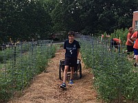 Max Trejo working in West Middle School's garden. Photograph by Malka Hampton