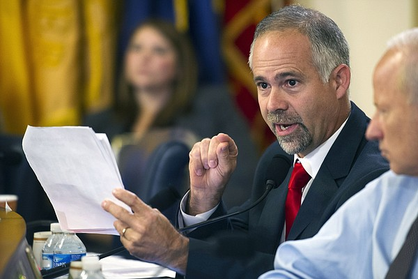 In this July 22, 2015, file photo, Rep. Tim Huelskamp, R-Kansas, speaks during a House Veterans Affairs Committee hearing on Capitol Hill in Washington. (AP Photo/Cliff Owen, File)