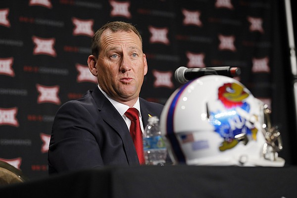 Kansas head football coach David Beaty responds to questions during Big 12 media days, Monday, July 18, 2016, in Dallas. (AP Photo/Tony Gutierrez)