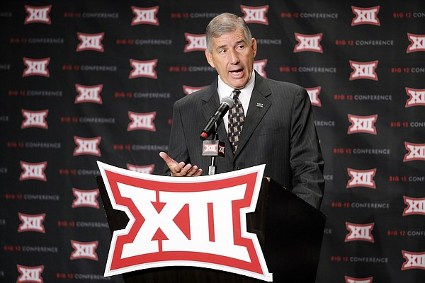 Big 12 commissioner Bob Bowlsby addresses the media Monday morning during his opening remarks at this year's Big 12 media days. (AP photo)
