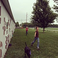 Oscar and Isaac playing with one of the Shelter's dogs.