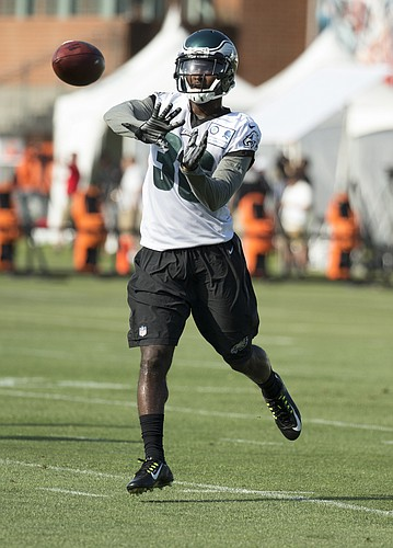 Philadelphia Eagles cornerback JaCorey Shepherd looks to catch the ball during practice at NFL football training camp, Monday, July 25, 2016, in Philadelphia. (AP Photo/Chris Szagola)