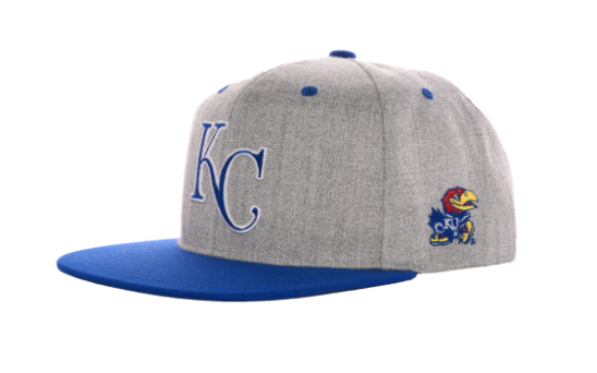 A glimpse at the Jayhawk-themed Royals hats that will be given out to the first 4,000 fans entering through Gate A at Sunday's game.