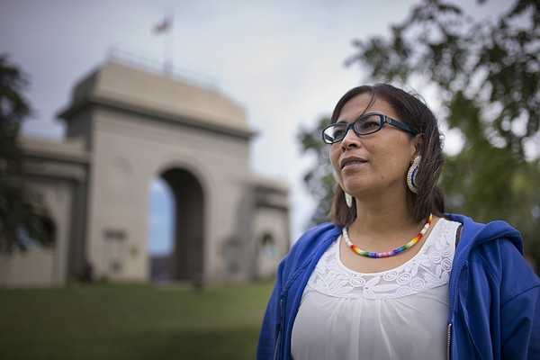 Haskell Cultural Center and Museum director Jancita Warrington, Menominee, Prairie Band Potawatomi and Ho-Chunk Nation, is pictured on Monday, Sept. 12, 2016 outside Haskell Memorial Stadium.