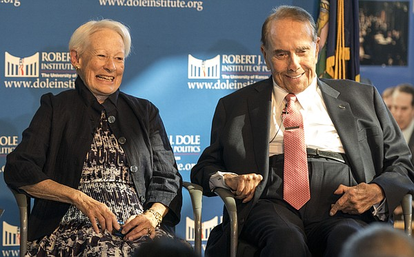 Former U.S. senators and longtime friends Nancy Kassebaum and Bob Dole speak about the time they served in Congress, as well as contemporary politics, on Saturday afternoon at the Dole Institute, 2350 Petefish Drive.