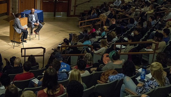 Jabari Asim, author and editor-in-chief of The Crisis magazine speaks to a packed auditorium on Thursday, Sept. 29, 2016 at Budig Hall. Asim presented the fall keynote lecture for Kansas University's Common Book program.