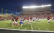 Kansas return man LaQuvionte Gonzalez (1) has nowhere to run as he is forced out of bounds on a kickoff by the Texas Tech defense during the first quarter on Thursday, Sept. 29, 2016 at Jones AT&T Stadium in Lubbock, Texas.
