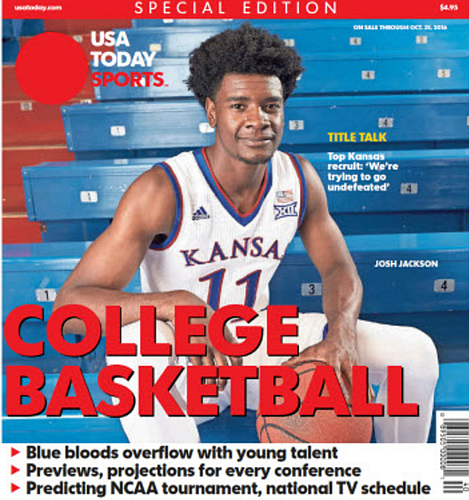KU freshman Josh Jackson on the cover of this year's USA Today college basketball preview.