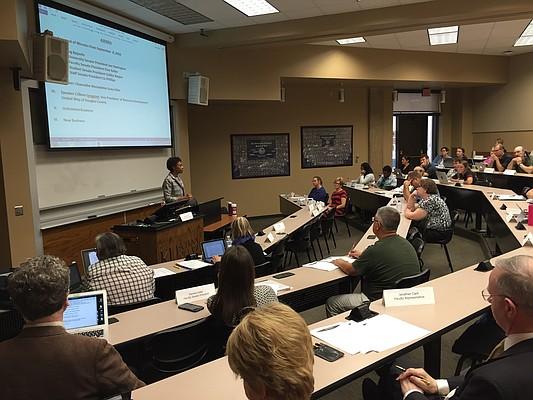 University of Kansas Chancellor Bernadette Gray-Little speaks to the University Senate on Oct. 6, 2016, in Green Hall.