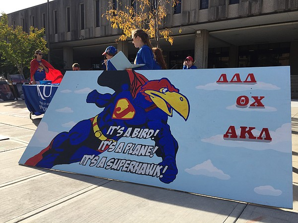 "The 2016 University of Kansas Homecoming theme is ""Rock Chalk Super Hawk."" Pictured is one of several sign competition entries displayed on Wescoe Beach on Monday, Oct. 17, 2016."