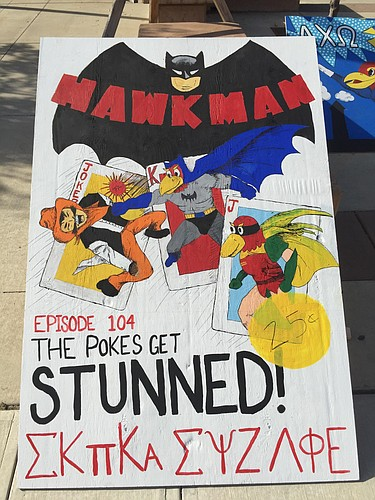 """The 2016 University of Kansas Homecoming theme is """"Rock Chalk Super Hawk."""" Pictured is one of several sign competition entries displayed on Wescoe Beach on Monday, Oct. 17, 2016."""