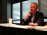 Former Gov. John Carlin speaks about the 2016 legislative races at the Kansas Association of School Boards.
