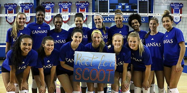 "#RootforScoot has become a popular rallying cry around the KU campus, especially with the men's basketball and women's volleyball teams Scott ""Scooter"" Ward worked with so closely. (Photo courtesy @KUVolleyball)"