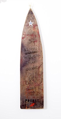 "A collaborative piece between Lawrence artists Jeremy Rockwell and Wayne Propst, titled ""Missile Tombstone."""