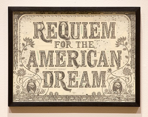 Requiem for the American Dream, currency on panel by Mark Wagner.