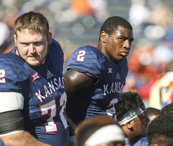Kansas defensive end Dorance Armstrong Jr. (2) shows his frustration on the sideline during the fourth quarter on Saturday, Oct. 22, 2016 at Memorial Stadium.