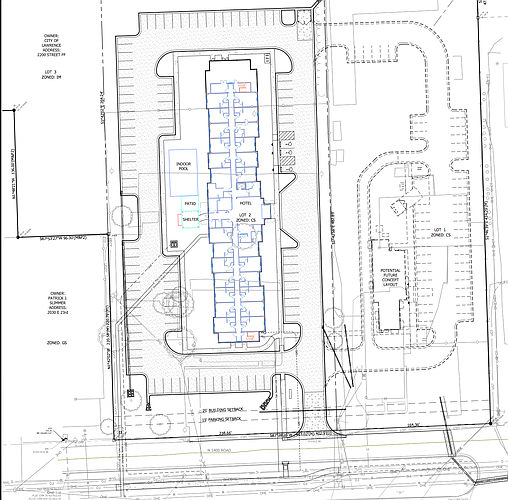 A site plan for a proposed hotel and restaurant development near 23rd and O'Connell. Courtesy: City of Lawrence and Bartlett & West engineers.