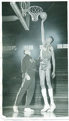 Phog Allen and Wilt Chamberlain in 1955. Photo courtesy of University Archives, Kenneth Spencer Research Library, KU