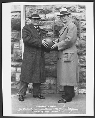 James Naismith and Phog Allen portrait, 1932. Photo courtesy of University Archives, Kenneth Spencer Research Library, KU