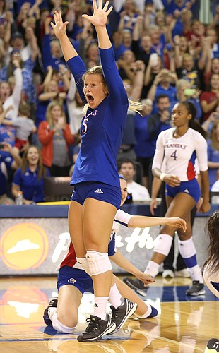 Kansas libero Cassie Wait (5) reacts after the Jayhawks beat the Longhorns in five sets on Saturday, Oct. 29, 2016 at the Horejsi Center.
