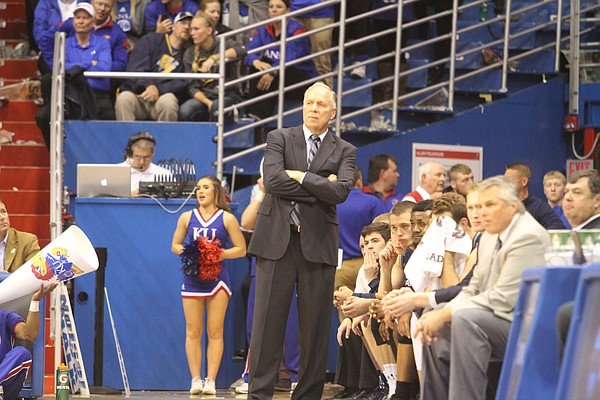 Washburn coach Bob Chipman surveys the action on the floor during one of Washburn's recent trips to Allen Fieldhouse to take on the Jayhawks in exhibition play.