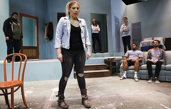 """The cast of """"Pooter McGraw is Not Dead Party"""" rehearse at Stage Too! in Murphy Hall on the University of Kansas campus, Thursday, Nov. 3, 2016."""