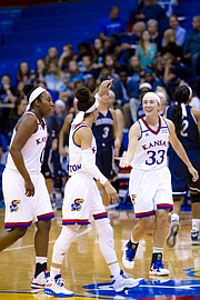Kansas sophomore Kylee Kopatich, right, slaps hands with Jessica Washington following Washington's three-pointer during the team's exhibition game against Washburn University on Sunday, Nov. 6, 2016.