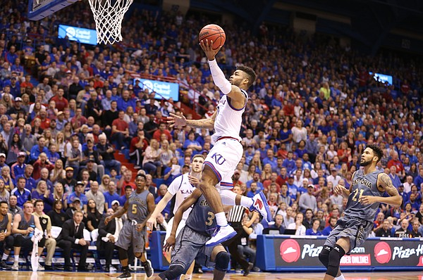 Kansas guard Frank Mason III (0) pulls up for a layup against Emporia State during the first half, Sunday, Nov. 6, 2016 at Allen Fieldhouse.